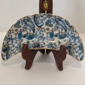 Lefton vintage China Blue Paisley Crescent Dish
